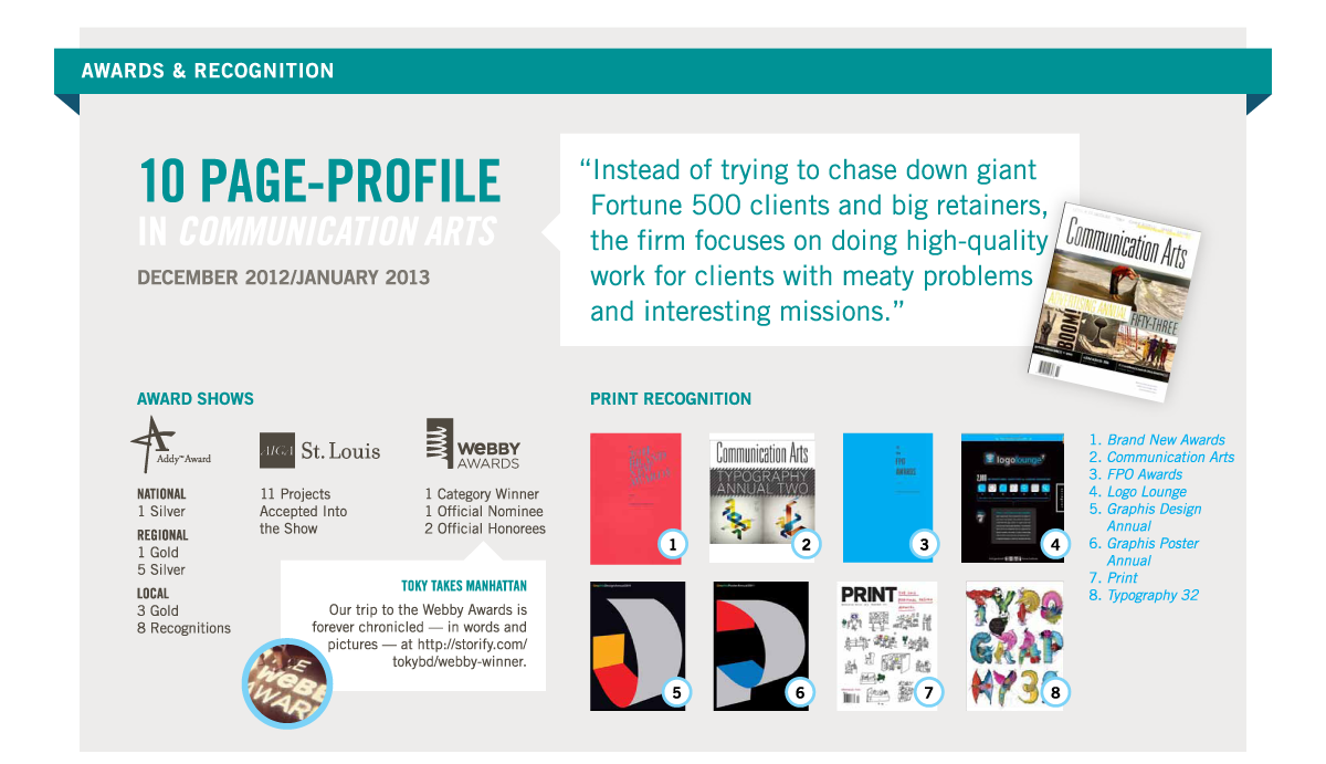 "Awards & Recognition. 10 page-profile in Communication Arts, December 2012/January 2013. ""Instead of trying to chase down giant Fortune 500 clients and big retainers, the firm focuses on doing high-quality work for clients with meaty problems and interesting missions."" Award Shows: Addy Award, National: 1 Silver; Regional: 1 Gold, 5 Silver; Local: 3 Gold, 8 Recognitions. AIGA St. Louis, 11 Projects Accepted into the Show. Webby Awards, 1 Category Winner, 1 Official Nominee, 2 Official Honorees. Toky Takes Manhattan: Our trip to the Webby Awards is forever chronicled — in words and pictures — at http://storify.com/tokybd/webby-winner. Print Recognition: Brand New Awards, Communication Arts, FPO Awards, Logo Lounge, Graphis Design Annual, Graphis Poster Annual, Print, Typography 32."