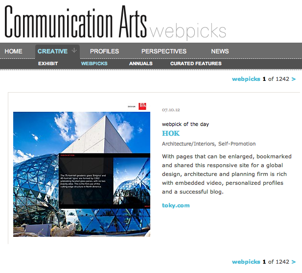 HOK featured as Webpick of the Day by Communication Arts