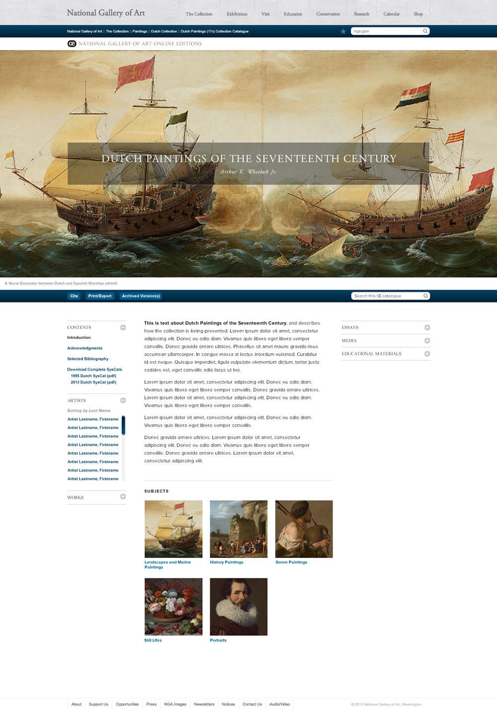 National Gallery of Art Dutch Collection Home Page by TOKY