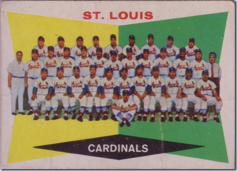 1960 Topps Cardinals team card
