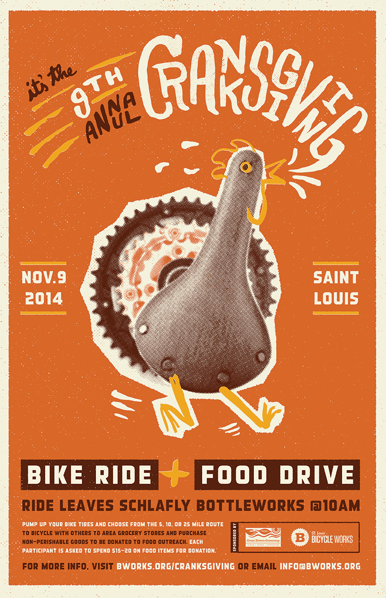 Event poster for 9th Annual Cranksgiving 2014