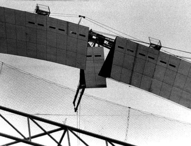 The second to last piece of the Gateway Arch is inserted c.1965