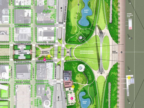 Van Vanlkenburgh Associates proposal for redesign of the Jefferson National Expansion Memorial grounds