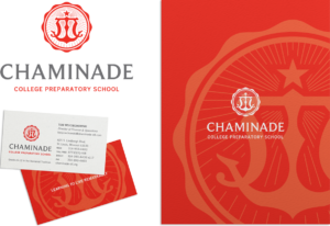 Chaminade logo, business cards, and view book