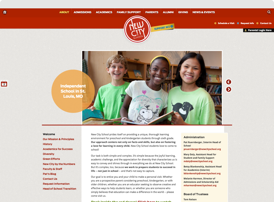 Screenshot of New City School's About Page on desktop browser