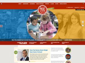 New City School Website shown on desktop browser