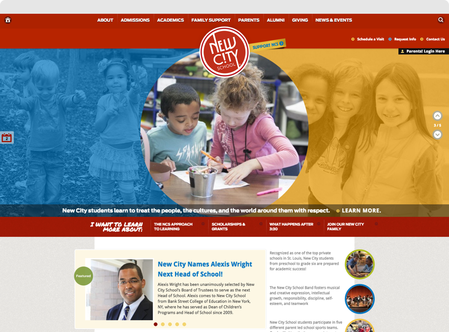 New City School Website shown on desktop browser