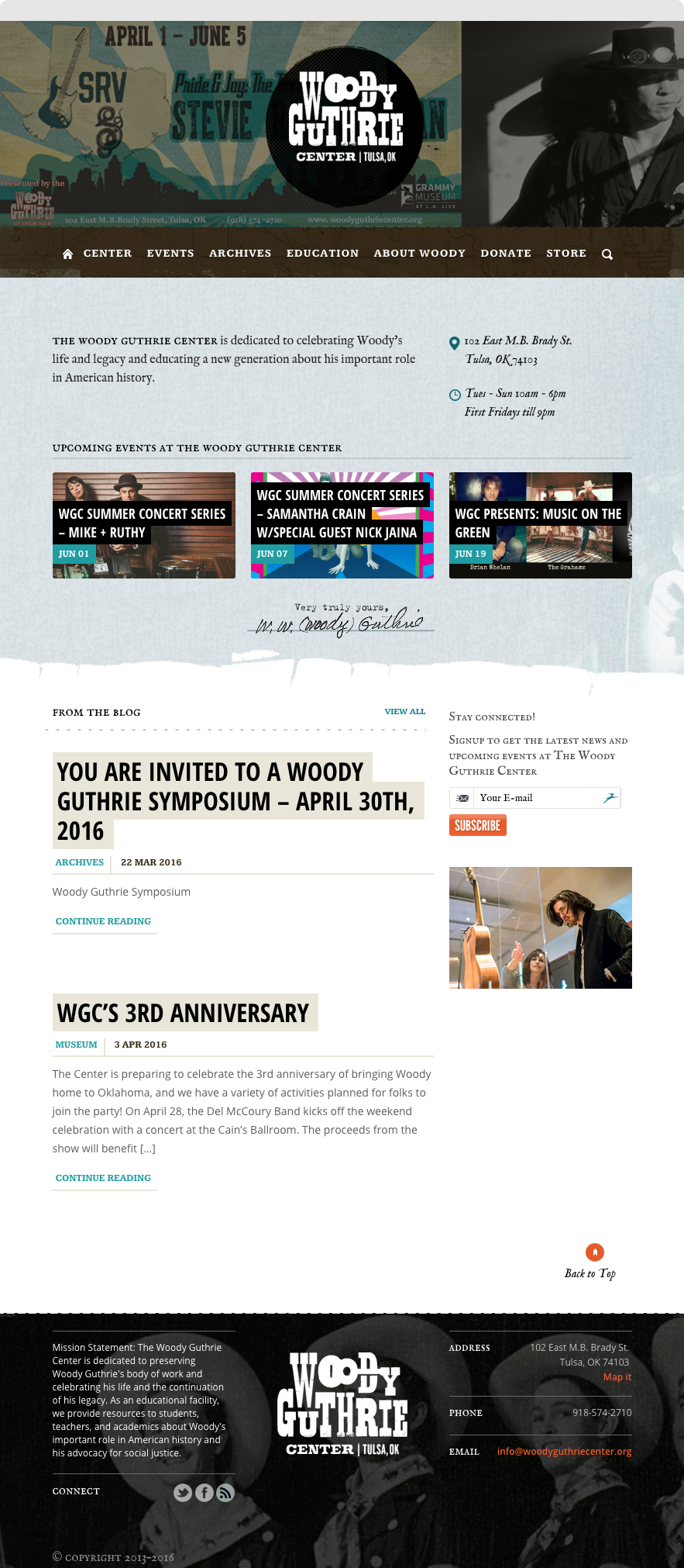 Woody Guthrie Center website Home Page, shown on desktop browser