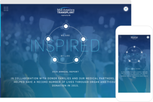 Mid-America Transplant Annual Report Home Page shown on desktop browser and iPhone