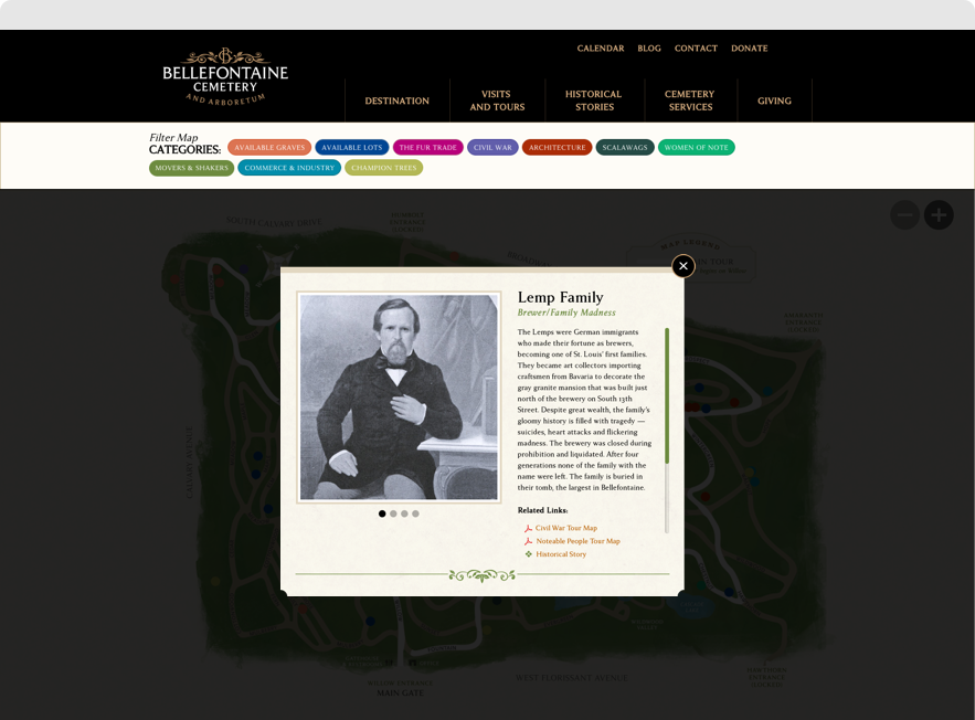 Information on Lemp Family from Bellefontaine's Interactive Map, shown on desktop