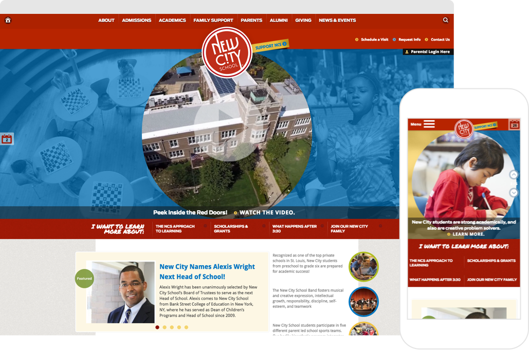 New City School Website shown on desktop browser and iPhone
