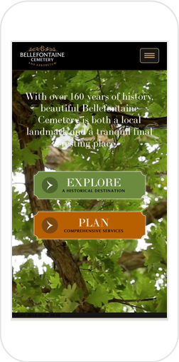 Bellefontaine's website Home Page shown on iPhone