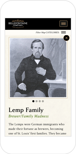 Information on Lemp Family from Bellefontaine's Interactive Map, shown on iPhone