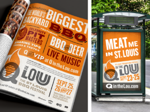 Q in the Lou advertising: magazine and bus shelter