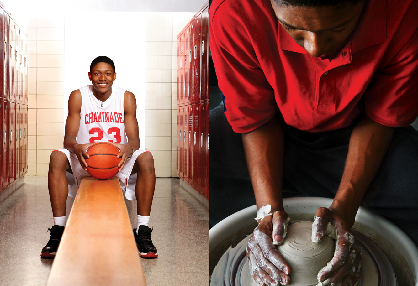 Chaminade student photography: basketball and pottery