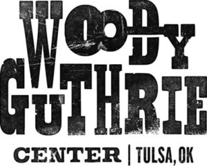 Woody Guthrie Center in vintage letterpress style
