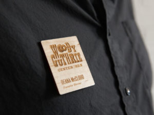 Wooden Woody Guthrie Center name tag
