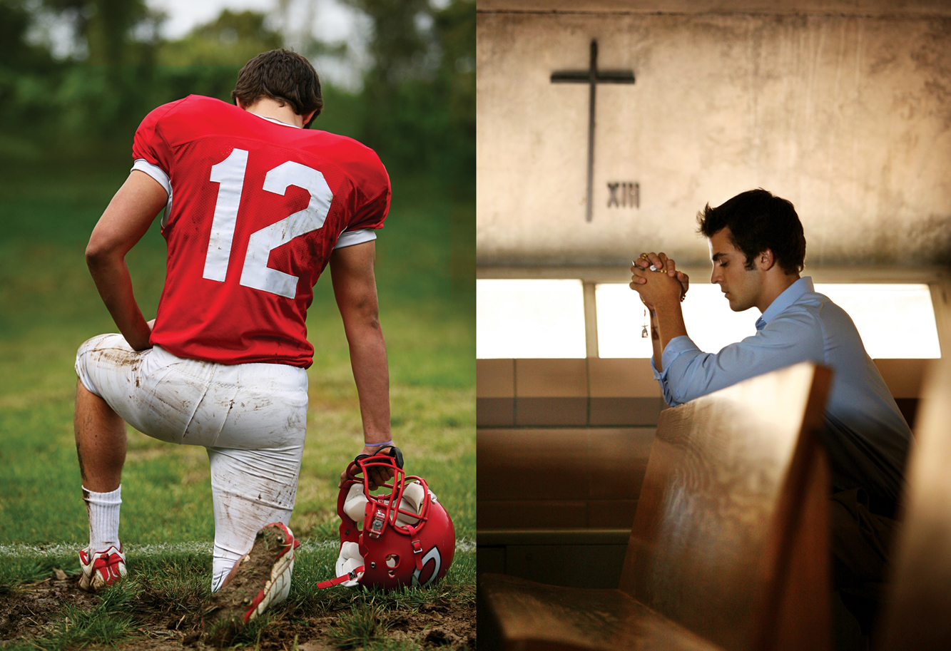 Chaminade student photos: football and prayer