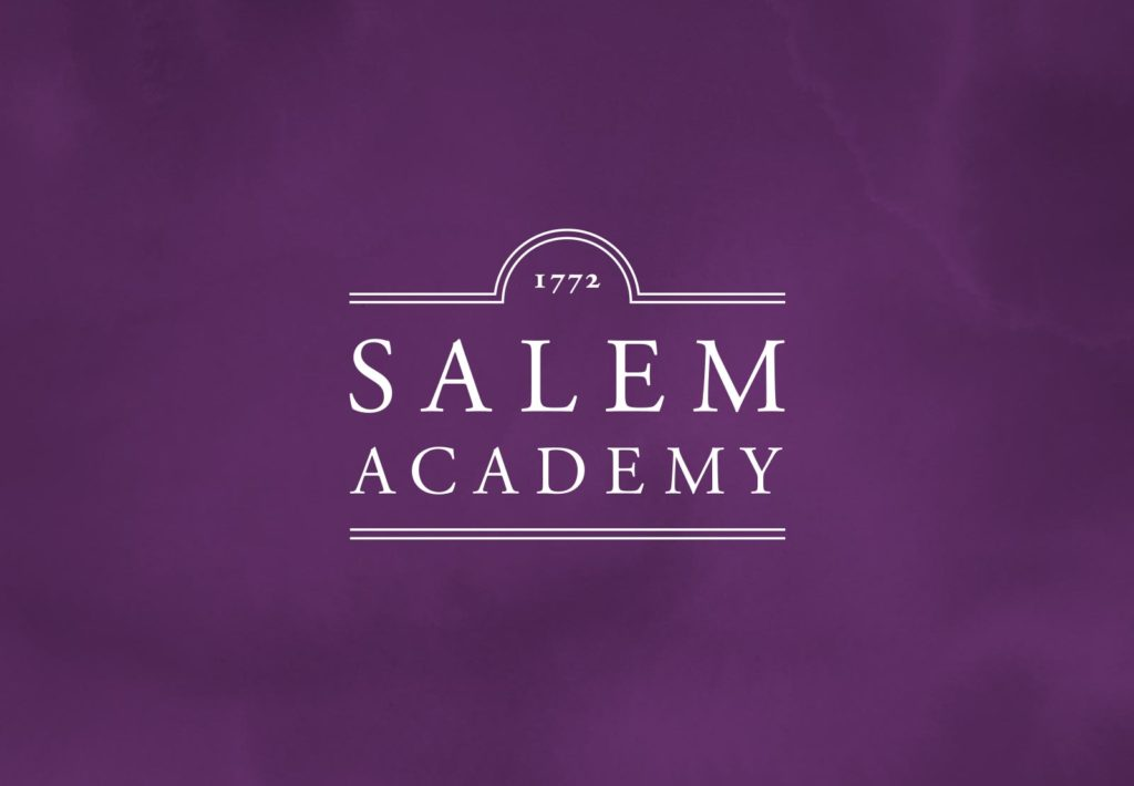 Salem Academy logo, purple background