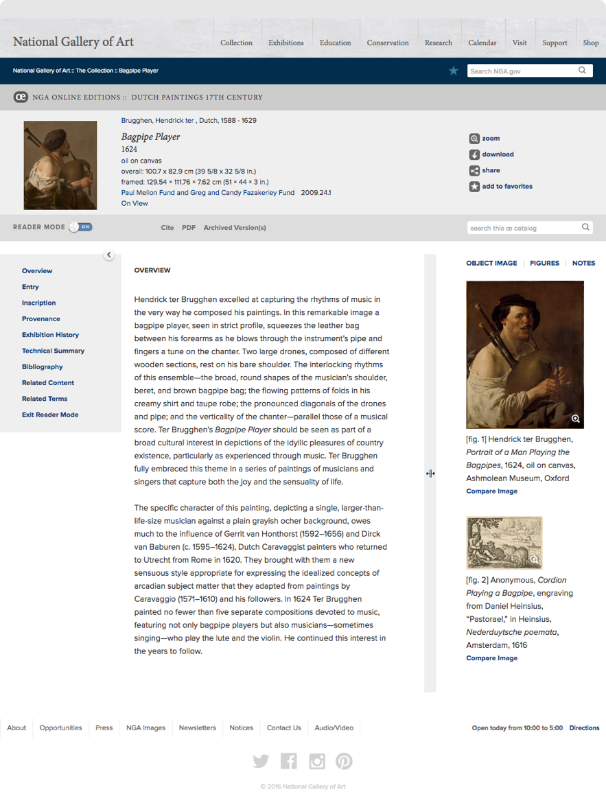 Screenshot of artwork overview shown on National Gallery of Art Dutch Collection