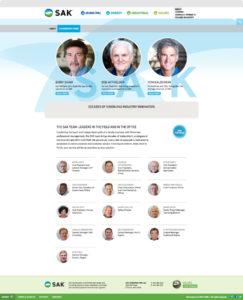 SAK Construction's Leadership Page shown on desktop browser