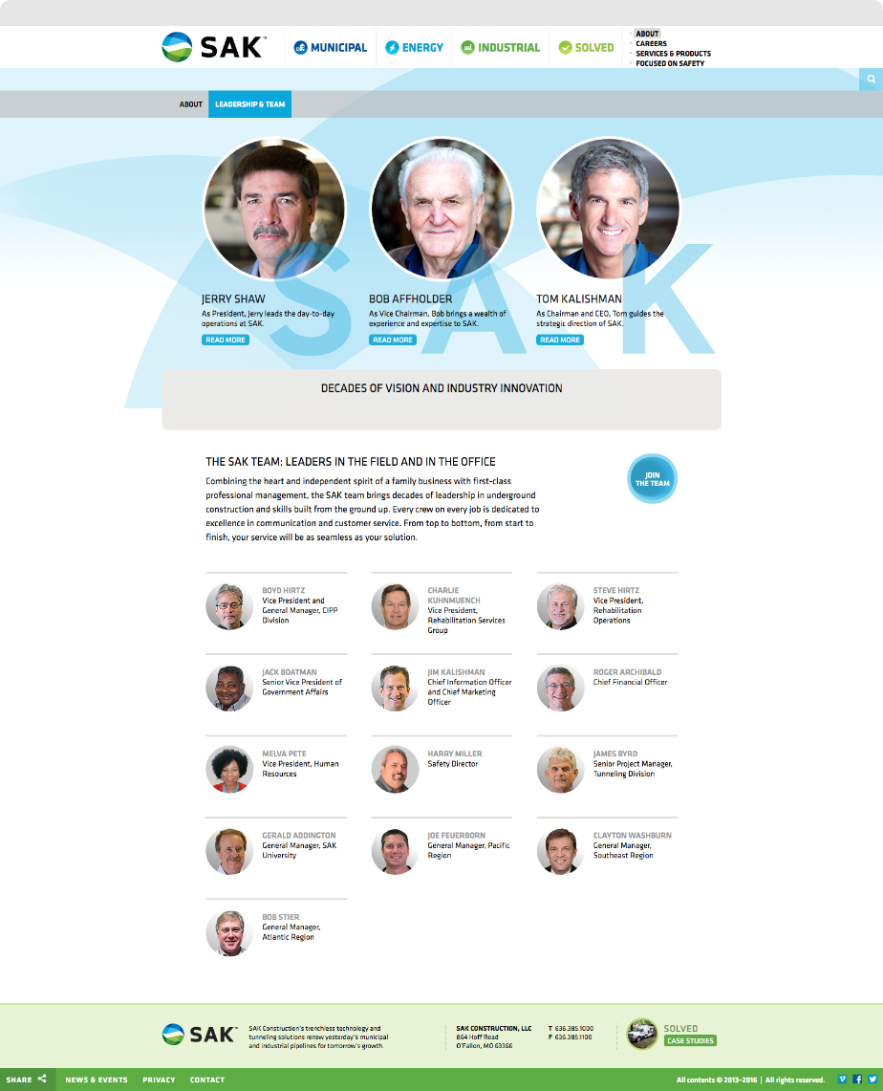SAK Construction's Leadership Page shown on desktop browser