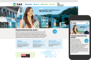 SAK Construction website shown on desktop browser and iPhone