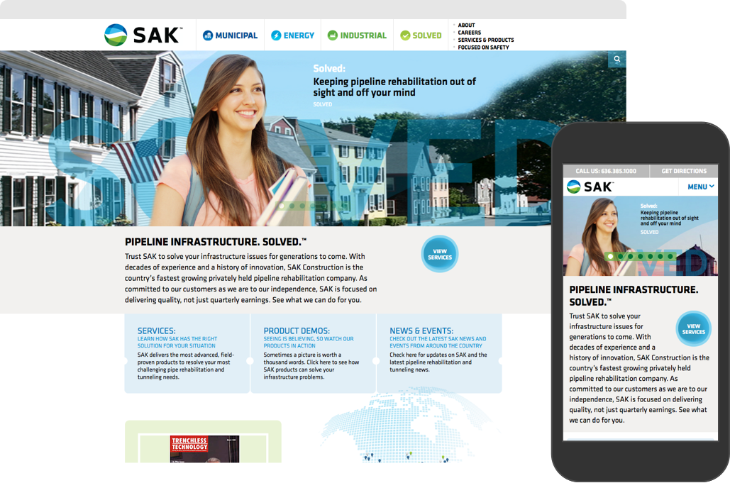 SAK Construction website shown on desktop browser and iPhone
