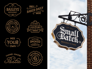 Two images showing Small Batch brand marks and exterior signage