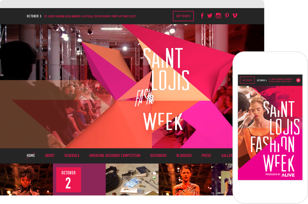 Saint Louis Fashion Week Home Page shown on desktop browser and iPhone