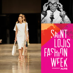 Collage of Saint Louis Fashion Week photos and branding, including model and Iris Apfel