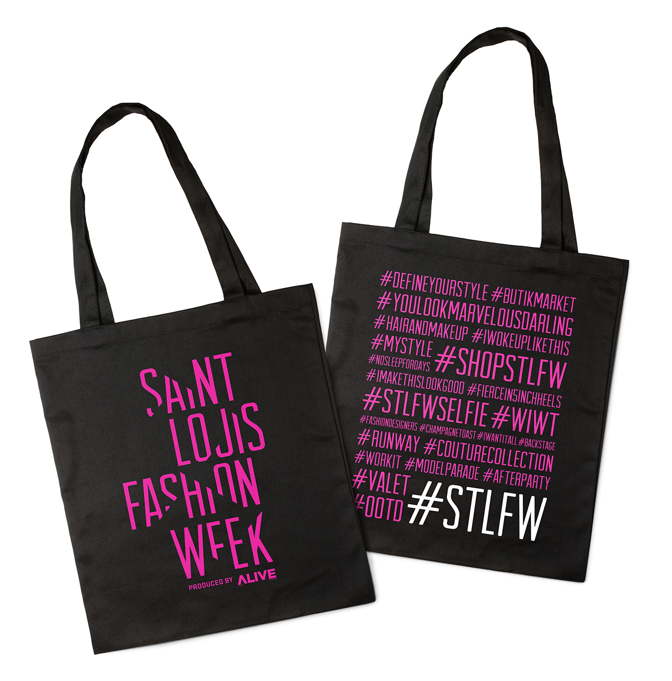 Saint Louis Fashion Week tote bag with fashion-related hashtags