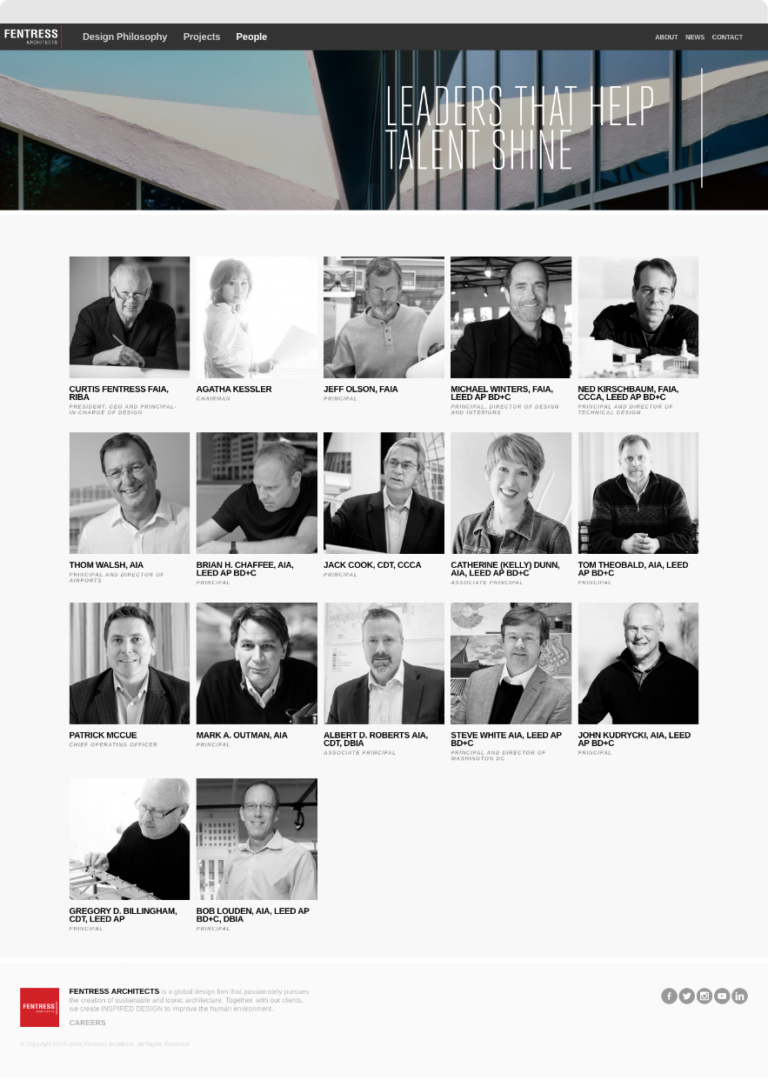 Screenshot of Fentress Architects People Page