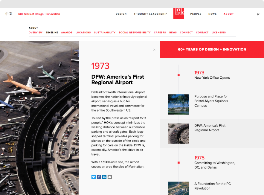 Screenshot showing HOK's 60th Anniversary Interactive Timeline