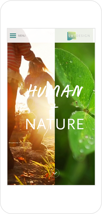 "SWT Design website home page showing ""Human + Nature"" headline on iPhone"