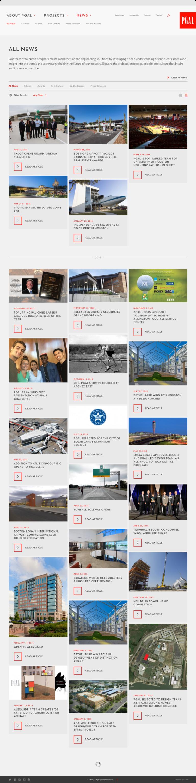 Screenshot showing PGAL's News Landing Page