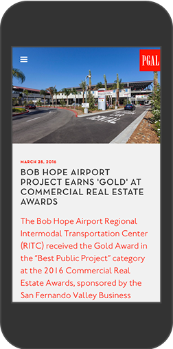 PGAL's Bob Hope Airport Project displayed on an iPhone