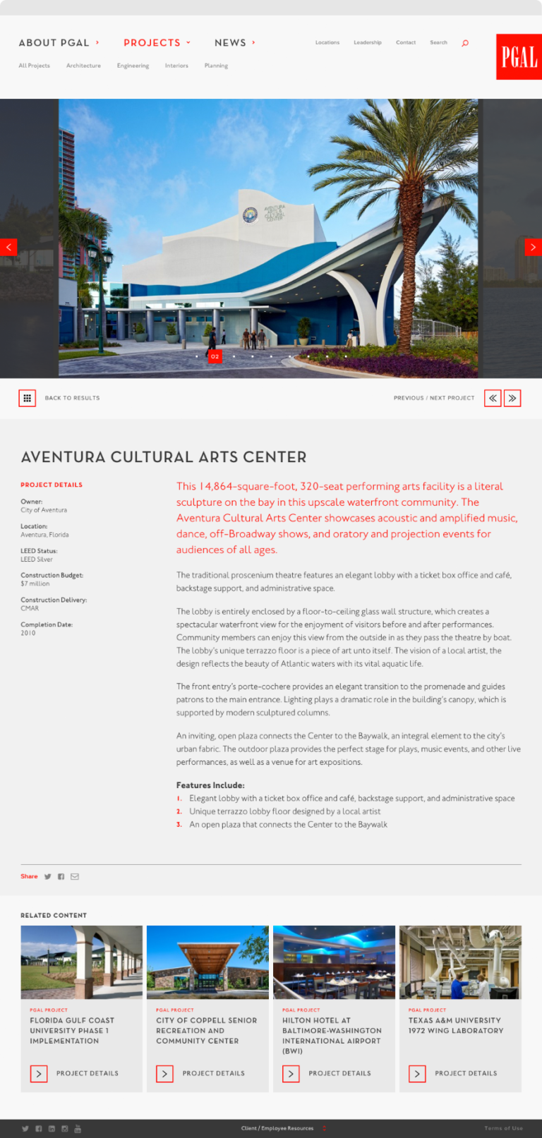 Screenshot showing PGAL's project page for the Aventura Cultural Arts Center