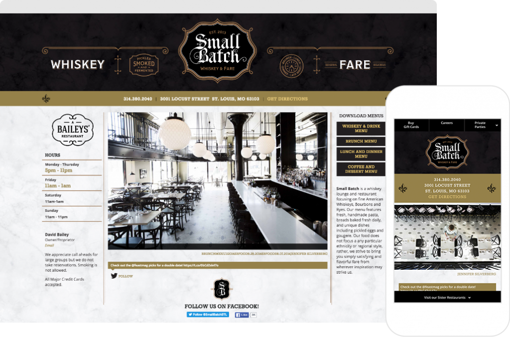 Small Batch website shown on desktop browser and iPhone