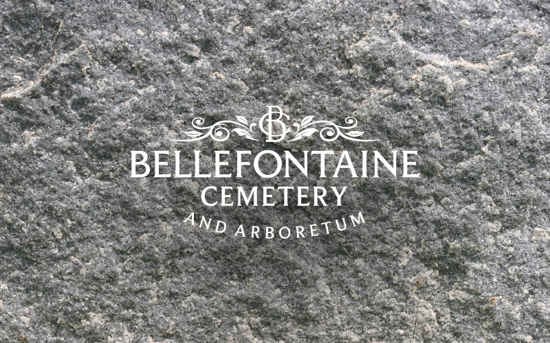 Bellefontaine Cemetery Logo with stone background