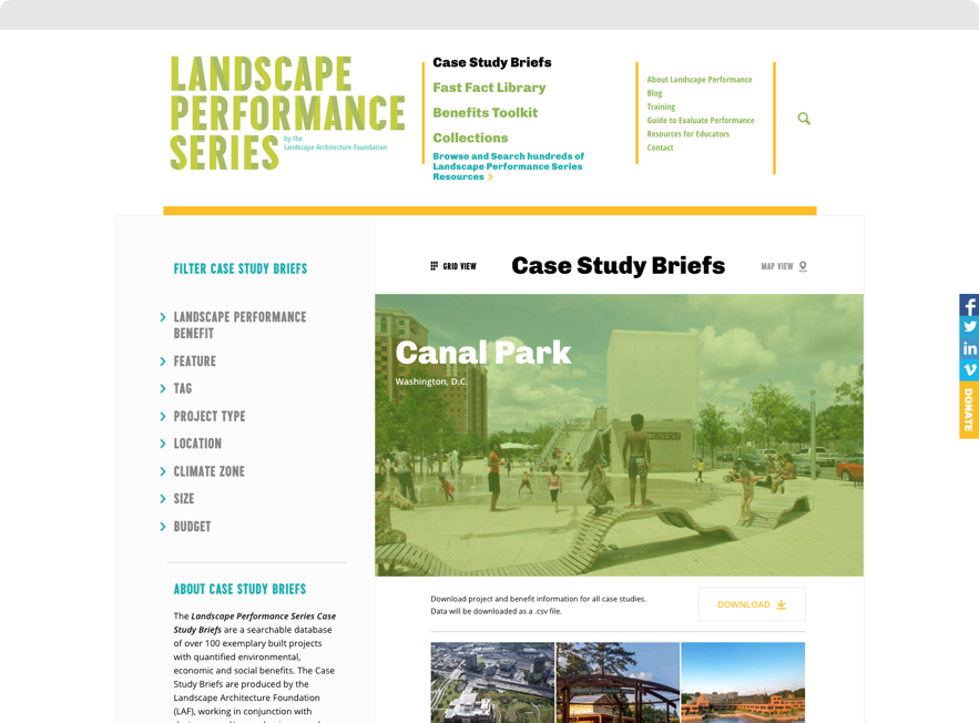 Screenshot of Case Study Brief landing page on Landscape Performance Series website