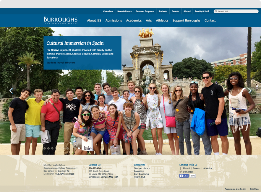 John Burroughs School Home Page shown on desktop browser