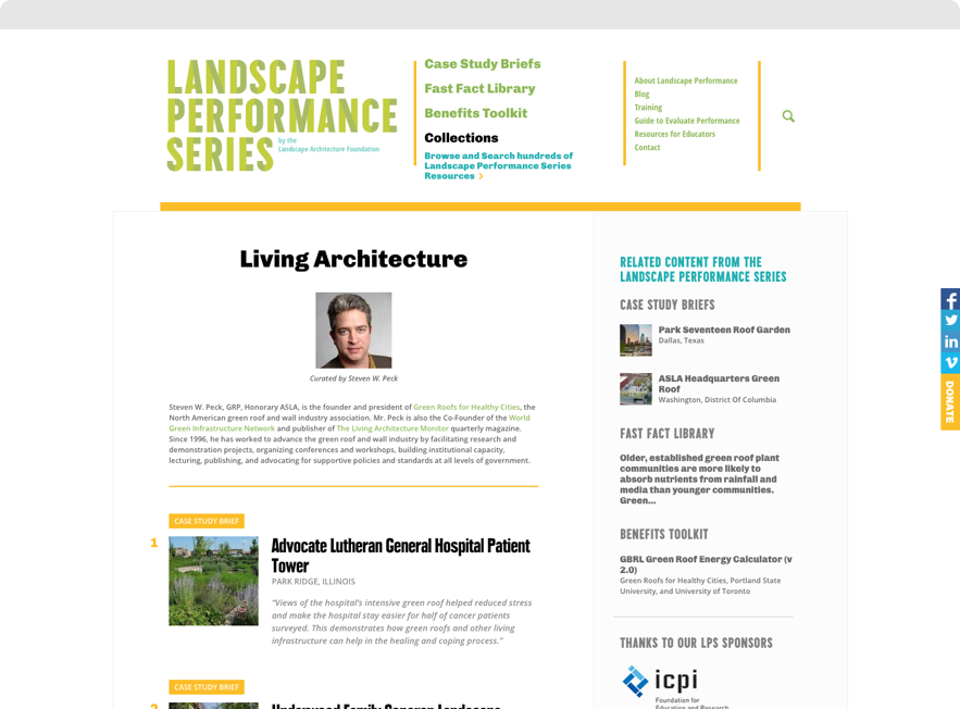 Screenshot of Curated Collection on Landscape Performance Series website