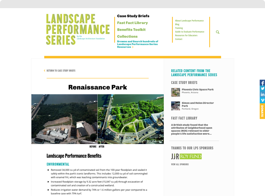 Screenshot of Renaissance Park Case Study Brief on Landscape Performance Series website