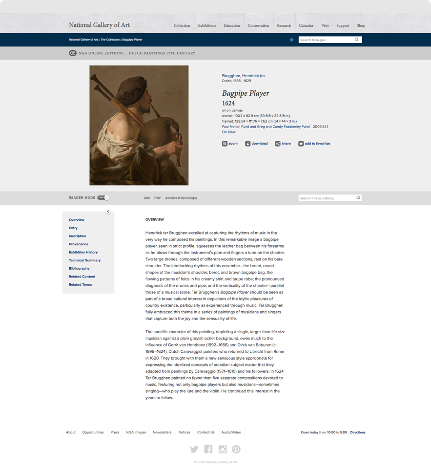 "Information on Brugghen's ""Bagpipe Player"" on National Gallery of Art Dutch Collection website"