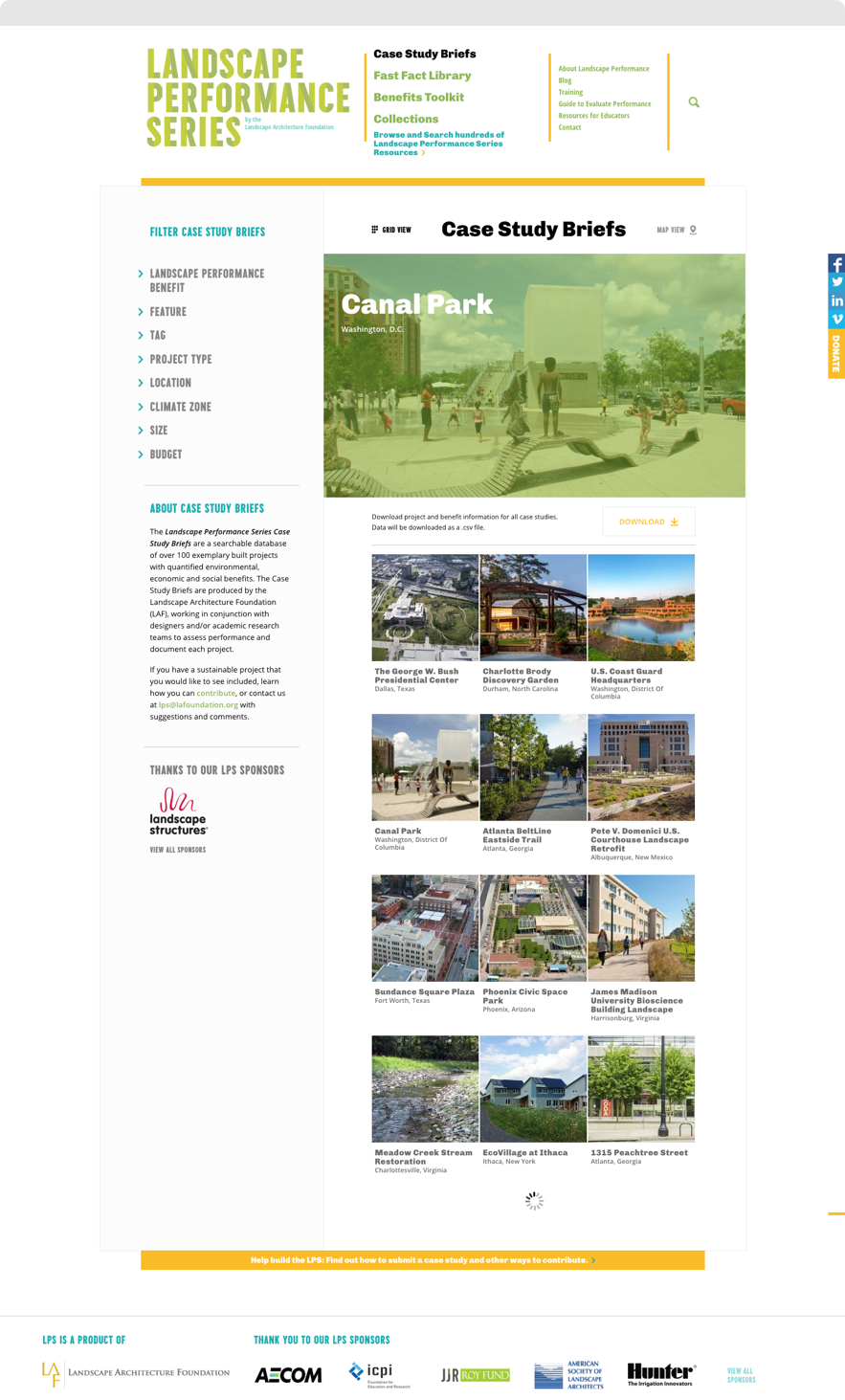Screenshot of Case Study Briefs Landing Page on Landscape Performance Series website