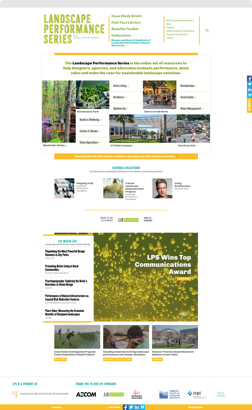 Screenshot of Landscape Performance Series Home Page