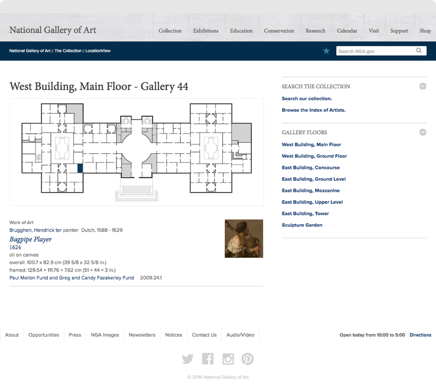 Map of National Gallery of Art Dutch Collection, show on desktop browser