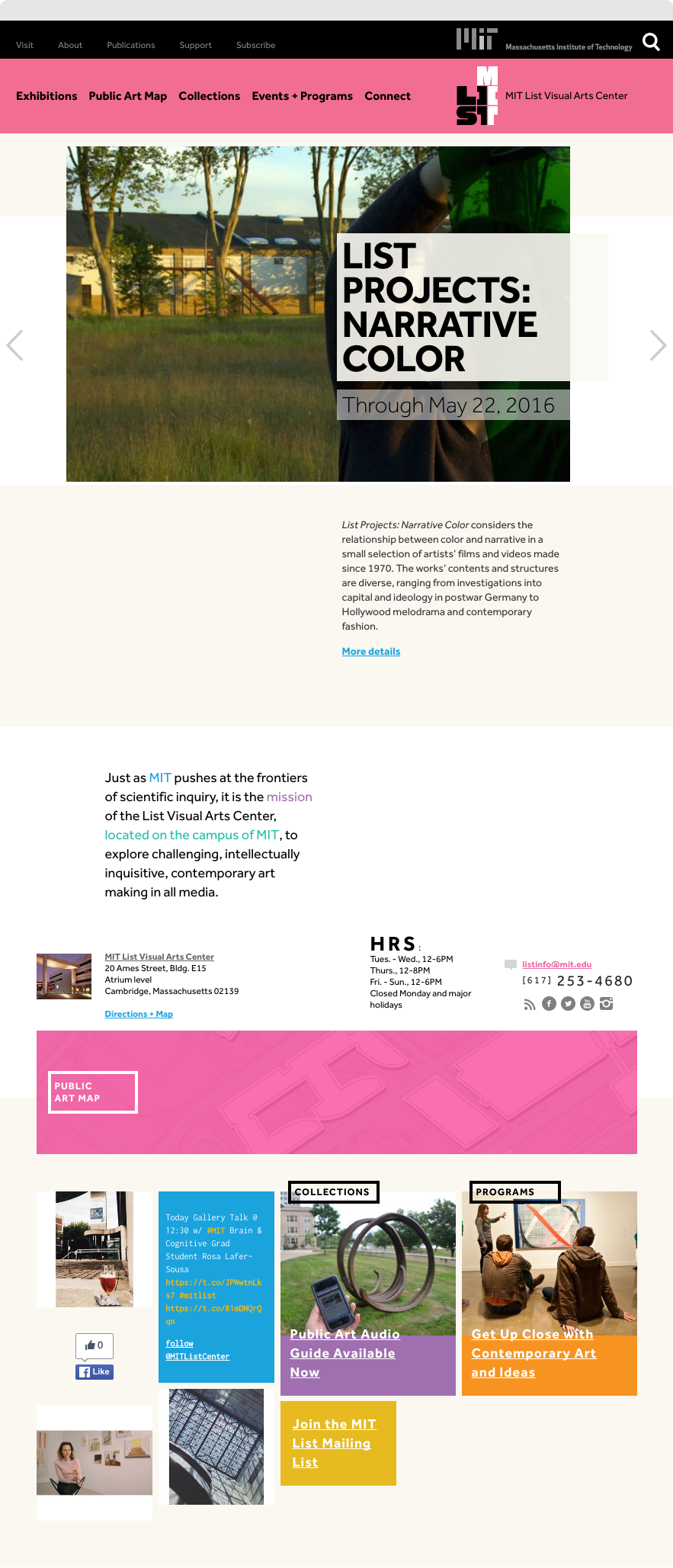Screenshot of Exhibition Detail Page for MIT List Visual Arts Center