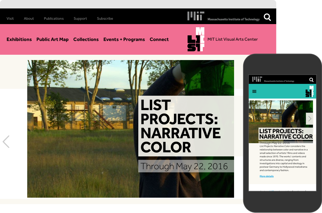 MIT List Visual Arts Center Home Page shown on desktop browser and iPhone